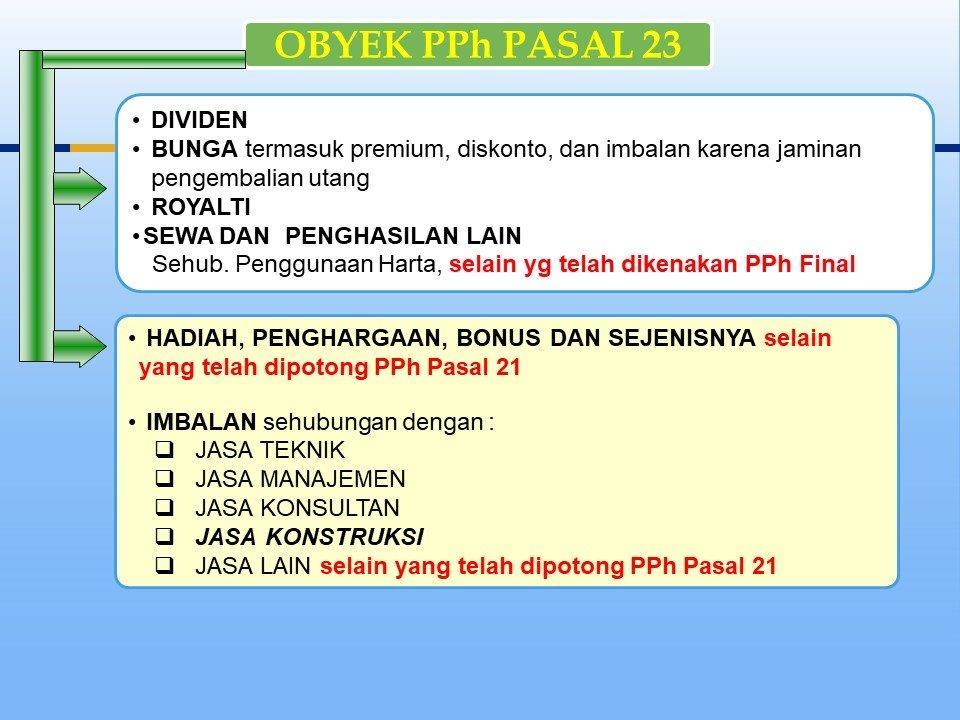 objek pajak pph pasal 23