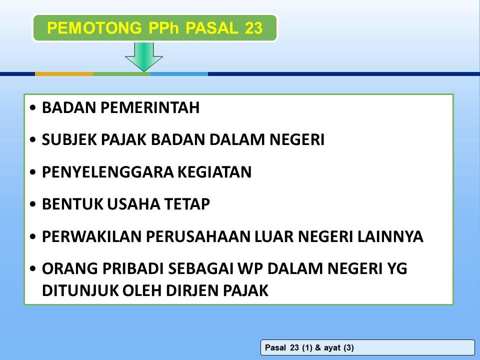 pemotong pph pasal 23